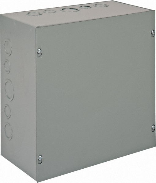 Hoffman ASE12X12X6 Pull Box Gray Screw Cover with Knockouts Steel 12 x 12 x 6