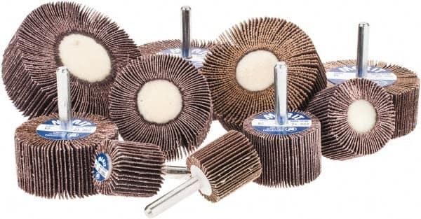 3 x 1 x 1//4 Shank Mounted Aluminum Oxide Flap Wheels 60 Grit 10 Pack