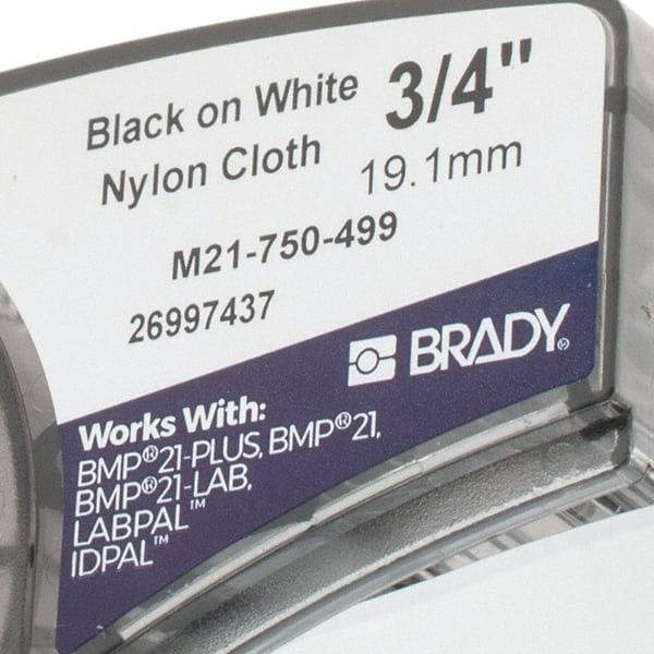 M21-500-499 - Black On White Nylon Brady High Adhesion Cloth Label Tape 0.5 Width Pack of 3 ID PAL Compatible with BMP21-PLUS 16 Length and LABPAL Printers