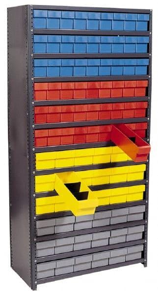 quantum storage 12x36x39 w32 bins bl shelving w plastic drwrs
