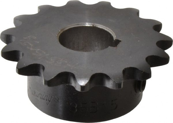 """Roller Chain Sprocket 3SR15 20mm Bore Key /& 2 Grub Screws 3//8/"""" Pitch 15 Tooth"""