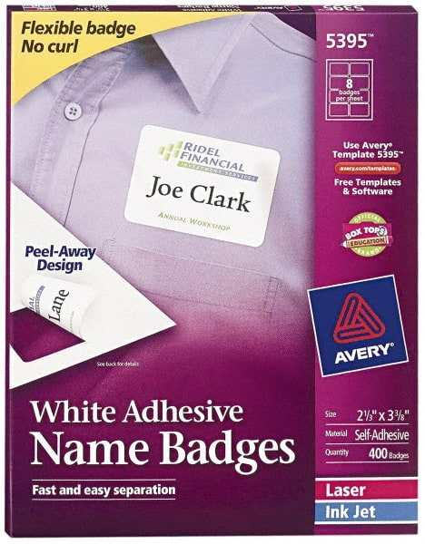 2 333 name badge labels paper white 52101375 msc