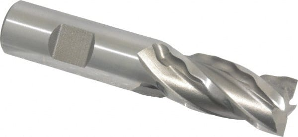 Finish Bright 0.25 Cutting Diameter HSS Uncoated 2.4375 Overall Length 30 Deg Helix 0.375 Shank Diameter 4 Flutes Square Nose End Mill YG-1 E1039 High Speed Steel Weldon Shank