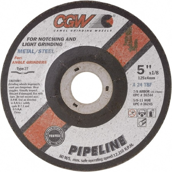 Depressed Center Wheel 6 in Dia 1//4 in Thick 24 Grit Aluminum Oxide 100 Pack