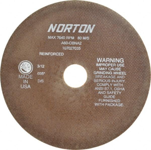 "NORTON 66252835053 CutOff Wheel,A60-OBNA2,6/""x.035/""x1//2/"""