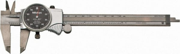 "Dial Calipe... Mitutoyo 0mm to 6/"" Range 0.001/"" Graduation 0.1/"" per Revolution"