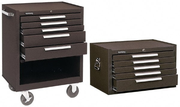 Kennedy - 5 Drawer, 2 Piece, Brown Steel Roller Cabinet