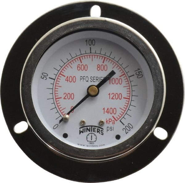 "LF SS 2.5/"" 1//4/"" Gauge Winters 0-200 psi center back conn SS tube//socket"