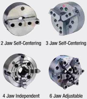 2 Jaw Self-Centering 3 Jaw Self-Centering 4 Jaw Independent 6 Jaw Adjustable